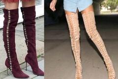 стильная обувь ботфорты со шнуровкой
