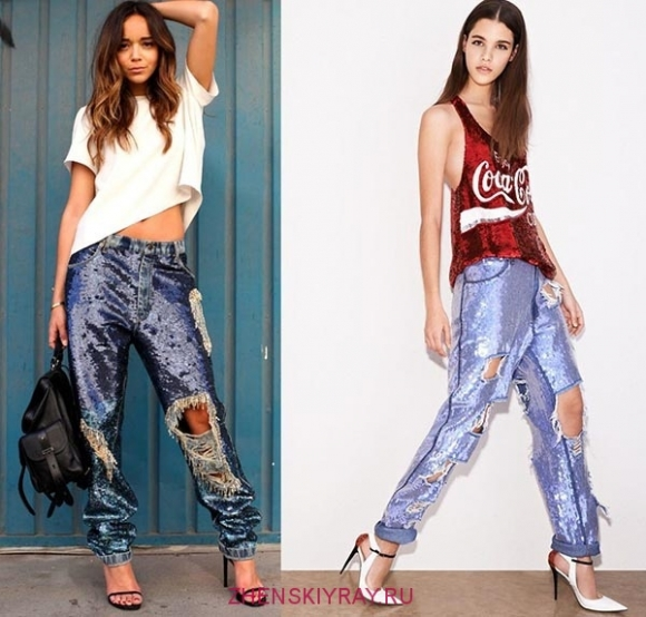 джинсы металлизированные 2018