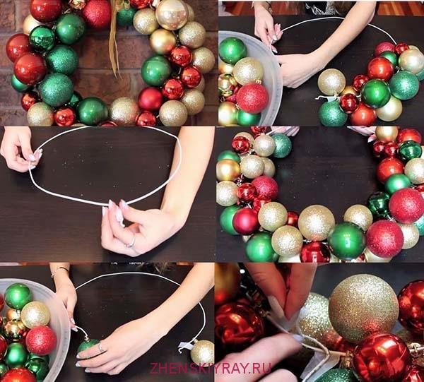 как сделать венок из шариков и картона