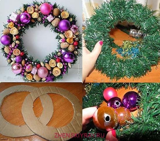 рождественские венки из веток и новогодних шариков своими руками