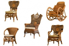 Various rattan armchairs and rocking chair on white background