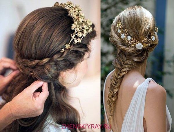 прическа в греческом стиле с распущенными волосами