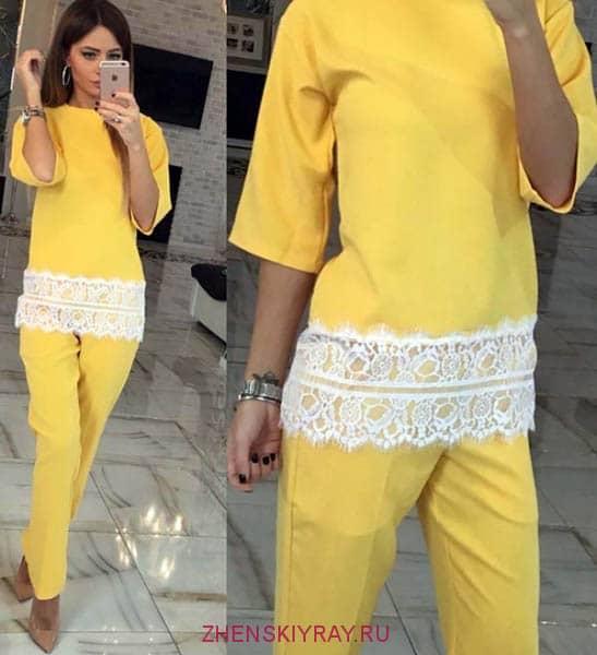 костюм желтый кружевная кайма