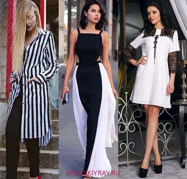 черно белые платья модели тенденции 2018