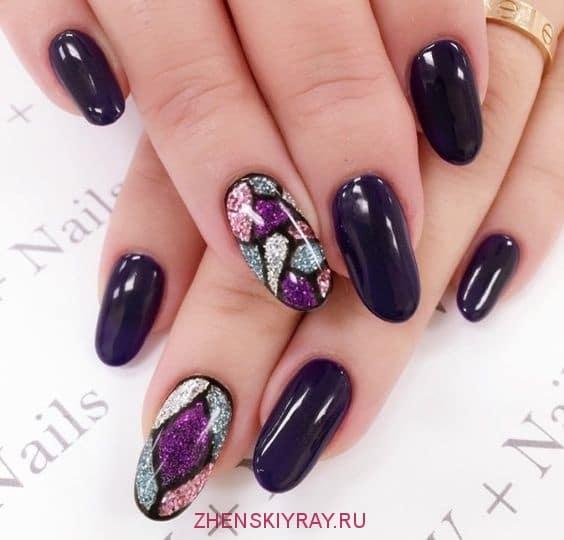 как украсить ногти черного цвета фото