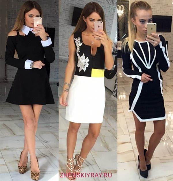 мода 2018 платья черно-белые фото
