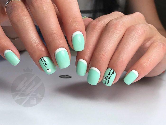 мятные цвета на ногтях