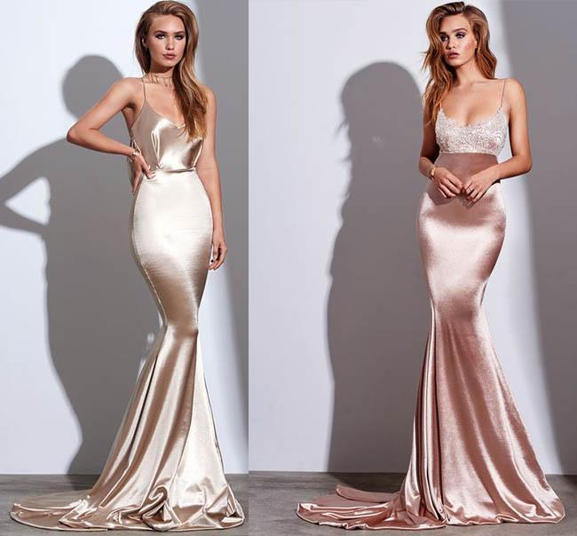 красивые атласные платья в стиле годе