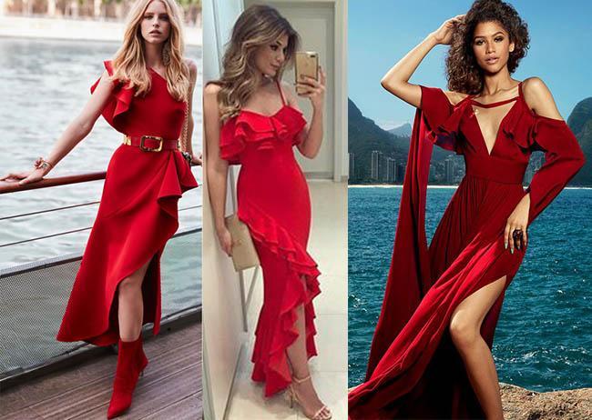 платья красного цвета вечерний вариант 2019