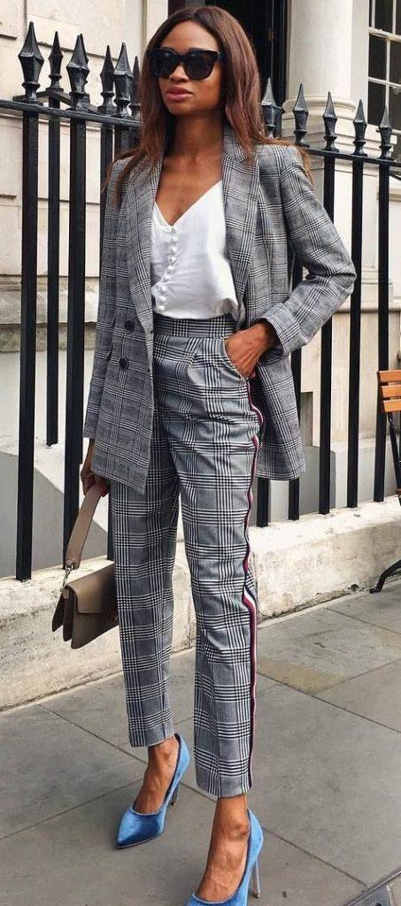 клеточный костюм брючный 2019