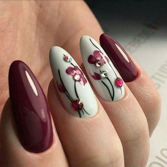 бордо ногти маникюр цветы