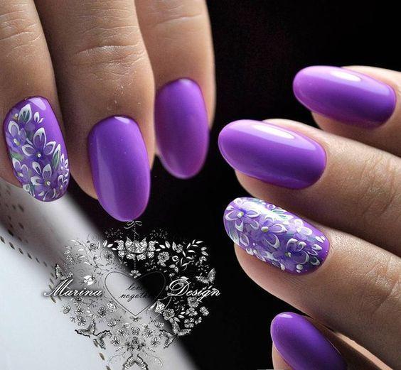 фиолетовые лавандовые ногти