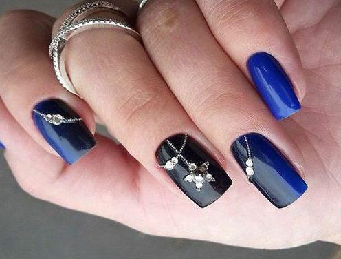 синие цветы ногти маникюр идеи