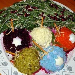 рецепт новогоднего овощного салата веточка