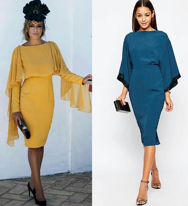 платья с объемными рукавами длина до колен