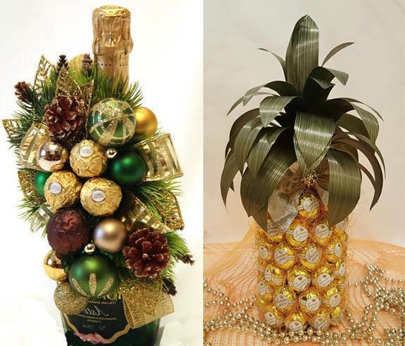 как украсить шампанское на новый год конфетами