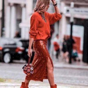 модная юбка из пайеток 2019-2020