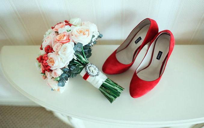 красные туфли на каблуке свадебные 2019-2020 фото