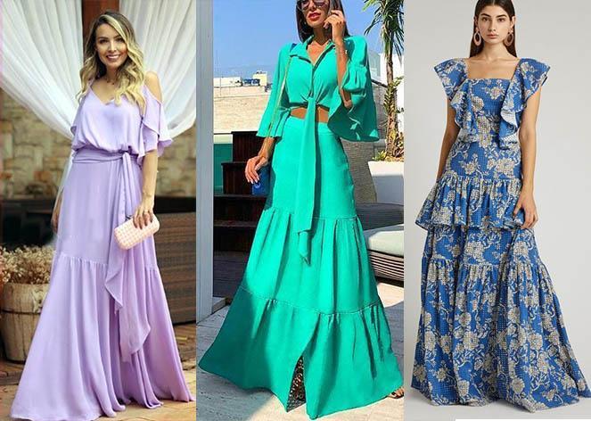 модные платья 2019-2020 платья в пол воланы тенденции