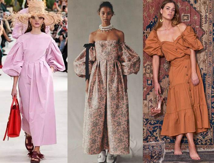 модные платья 2019-2020 объемные рукава