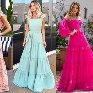 модные платья 2019-2020 платья в пол воланы