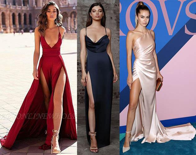 атласные платья комбинации 2019-2020 фото