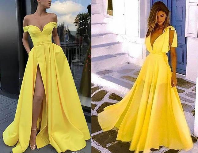 летние платья желтого цвета 2019-2020 новинки
