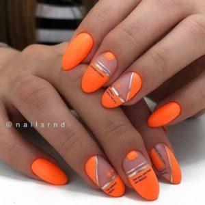 оранжевый дизайн ногтей модный маникюр 2020