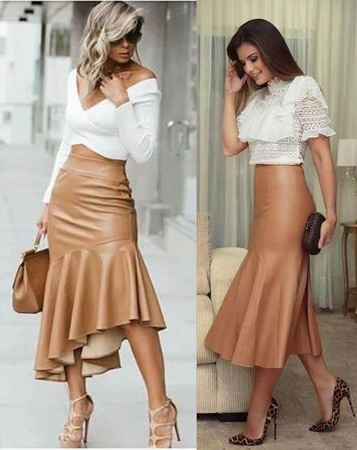 модная кожаная юбка-годе 2020-2021 фото