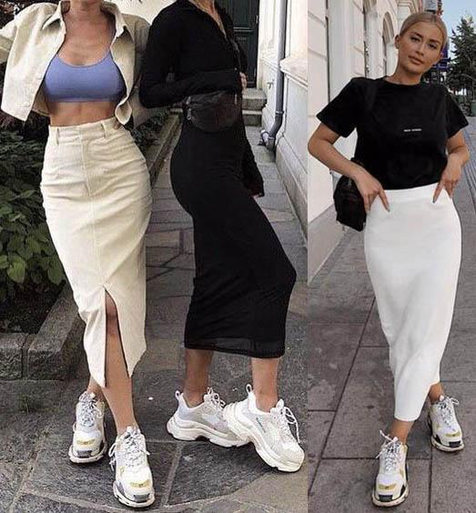 модная трикотажная юбка-карандаш 2020-2021 фото
