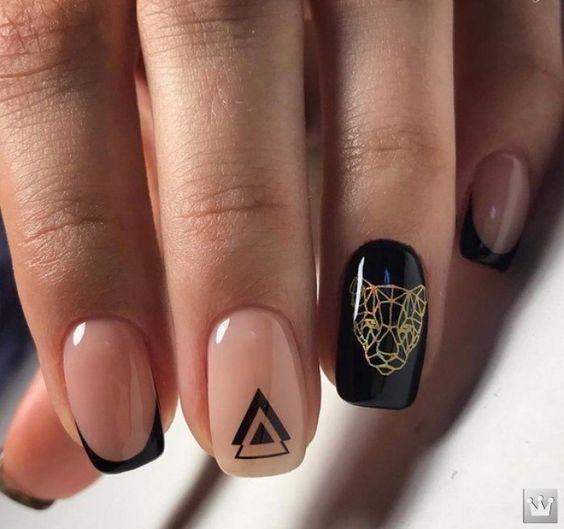 рисунки на ногтях черный и нюдовый оттенки 2020 идеи фото