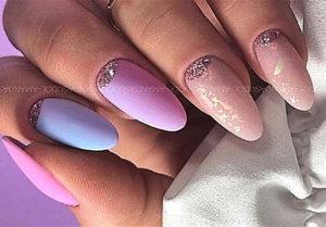 пудровый дизайн ногтей 2021
