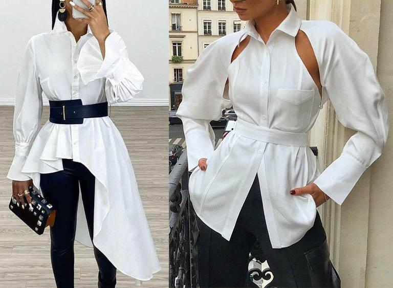 блузка со шлейфом оригинальный вырез блузы мода 2020-2021