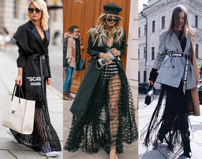 луки с пиджаками юбка сетка фатин мода 2020-2021
