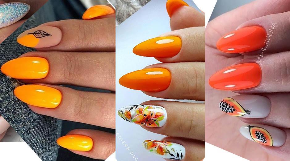 оранж на ногтях
