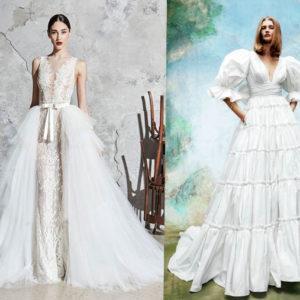 свадебные платья 2020-2021 мода со шлейфом и воланами