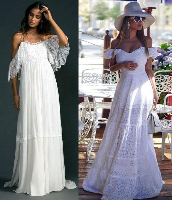 белоснежные платья с бретельками
