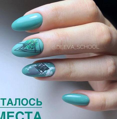 стильный бирюзовый дизайн ногтей 2021 фото