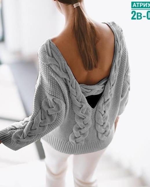 кофта свитер 2021 с открытой спинкой дизайнерская идея