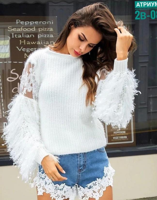 белые свитера с объемными пышными рукавами 2021