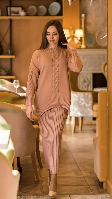 стильные свитера 2021 с юбкой узоры объемные рукава