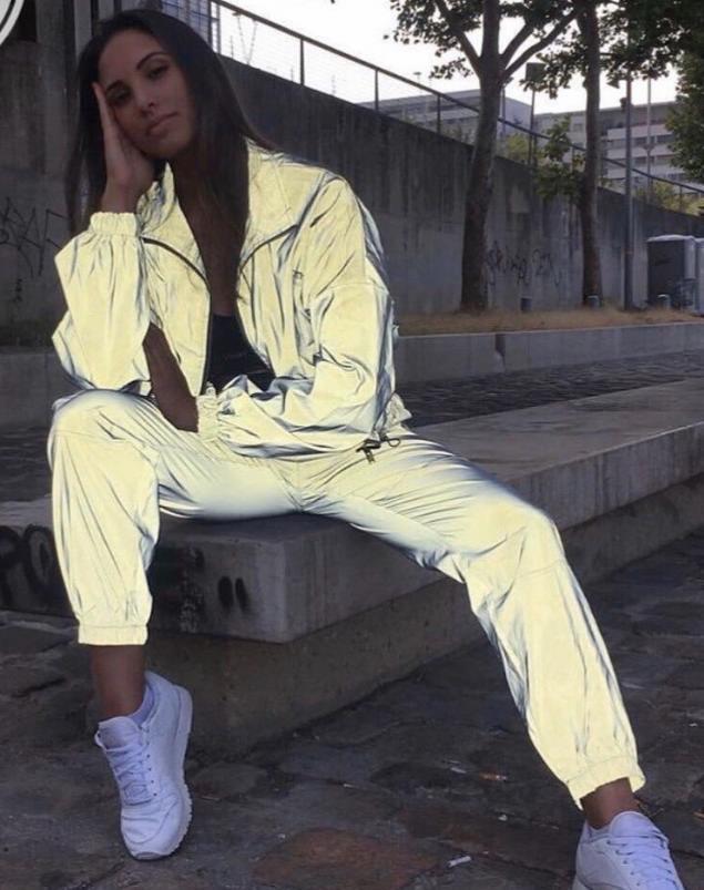 костюм светоотражающий плащевка джоггеры с карманами 2021