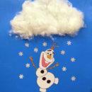 как сделать аппликацию из ваты снеговик Олаф