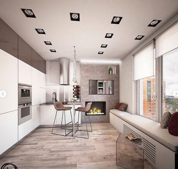 гостиная и кухня совмещены