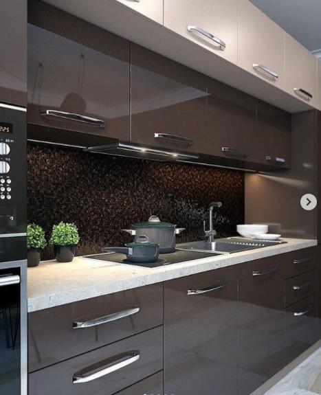 стильная кухня в темных тонах роскошь