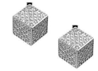 серьги кубики со стразами
