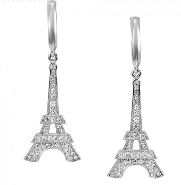 серьги франция эйфелева башня со стразами фото