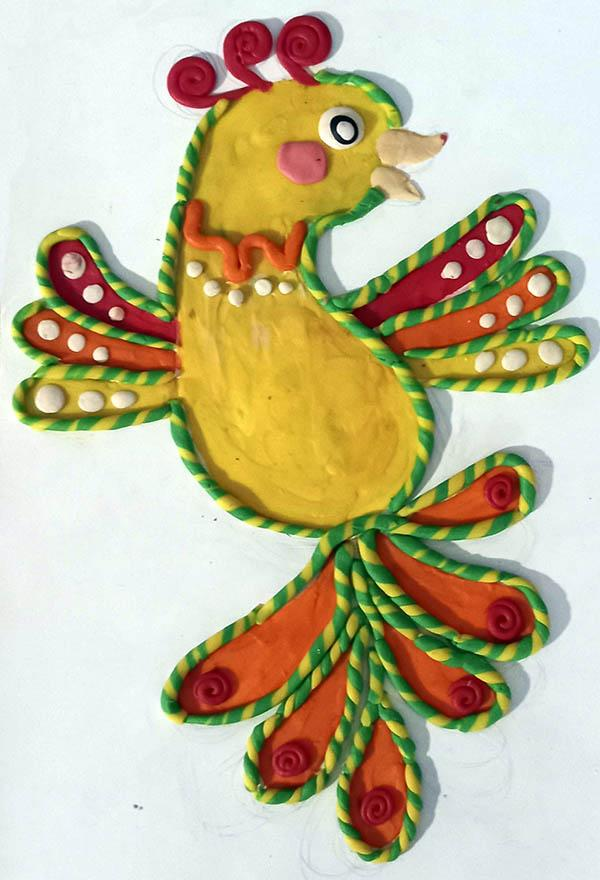 жар-птица из пластилина аппликация в школу