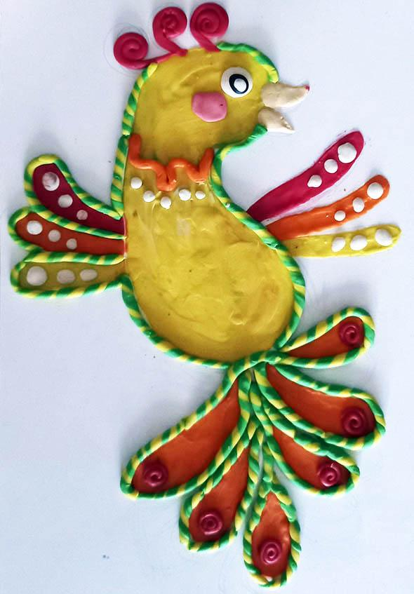 детская аппликация из пластилина птица