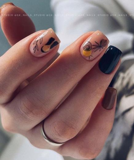 комбинированный декор ногтей 2022
